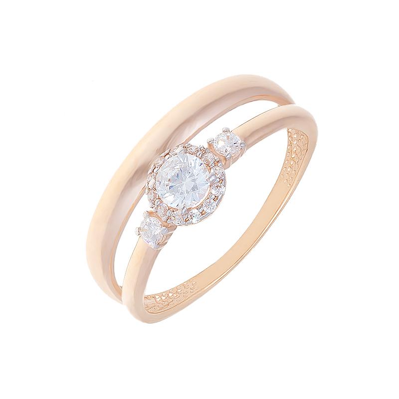 Золотое кольцо с фианитами СН01-114380