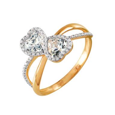Золотое кольцо с фианитами СН01-114408
