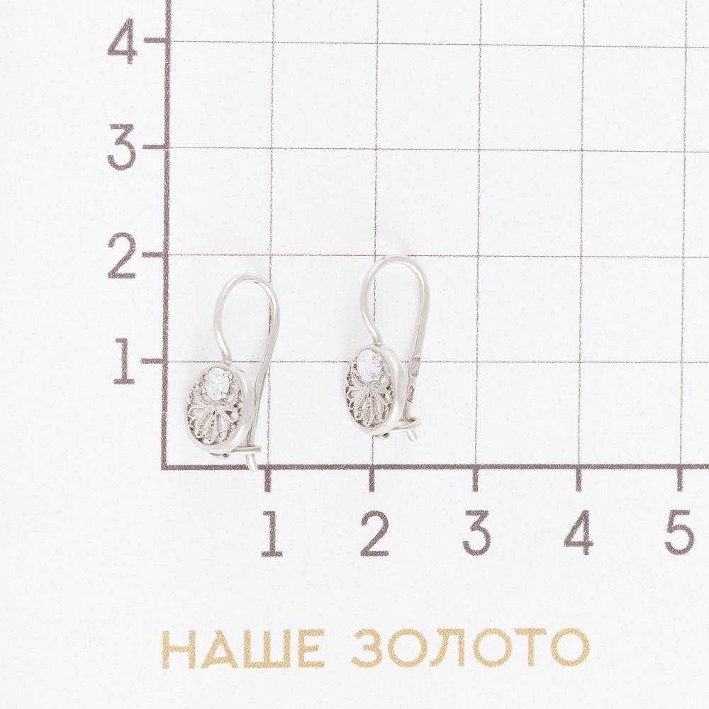 Серебряные серьги детские с фианитами 4МС221
