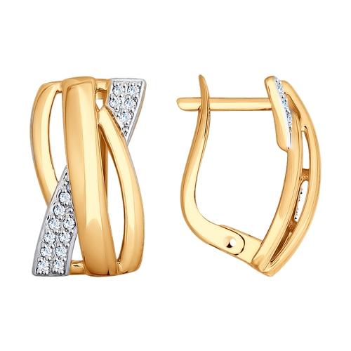 Золотые серьги с фианитами ДИ027796