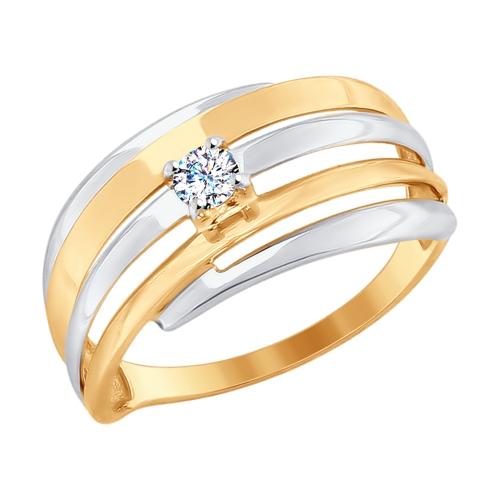Золотое кольцо с фианитами ДИ017670