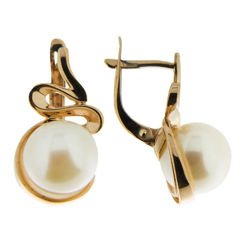 Золотые серьги с жемчугом 5Э20-00-00026