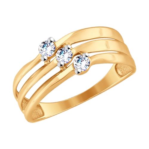 Золотое кольцо с фианитами ДИ017686