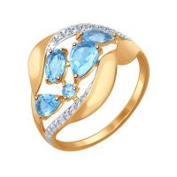 Золотое кольцо с топазами и фианитами ДИ714474