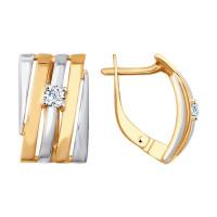 Золотые серьги с фианитами ДИ027726 женские