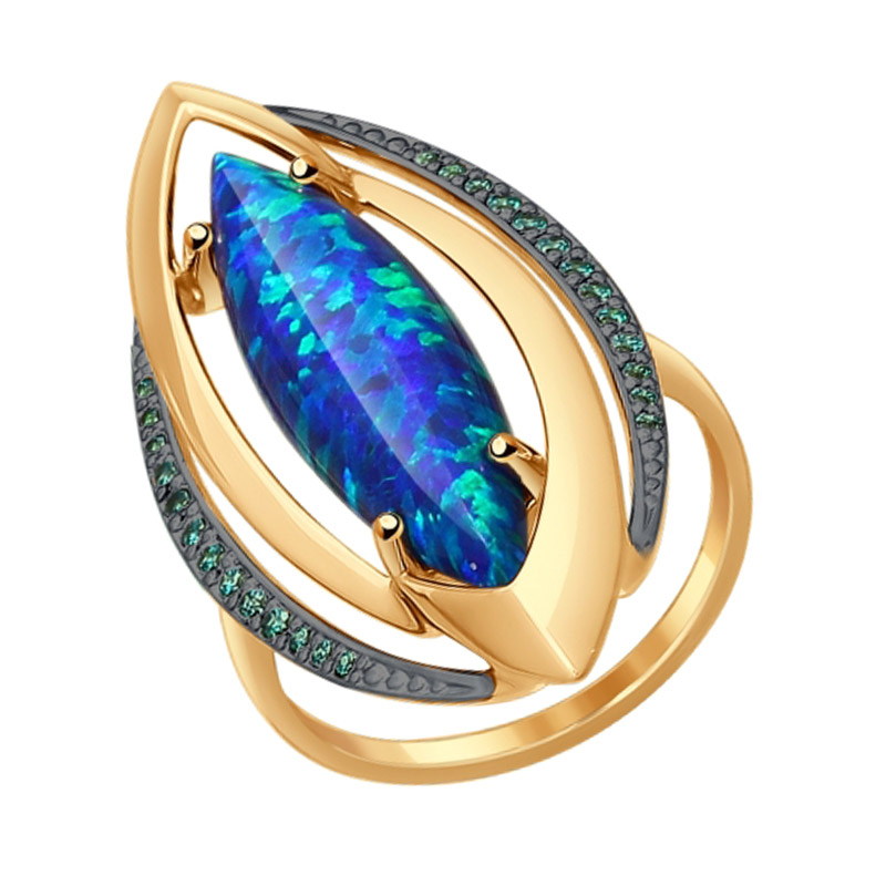 Золотое кольцо с опалами и фианитами ДИ714541