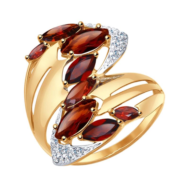 Золотое кольцо с гранатами и фианитами ДИ714547