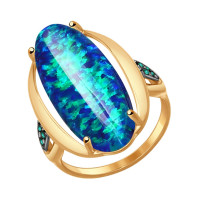 Золотое кольцо с опалами и фианитами ДИ714550