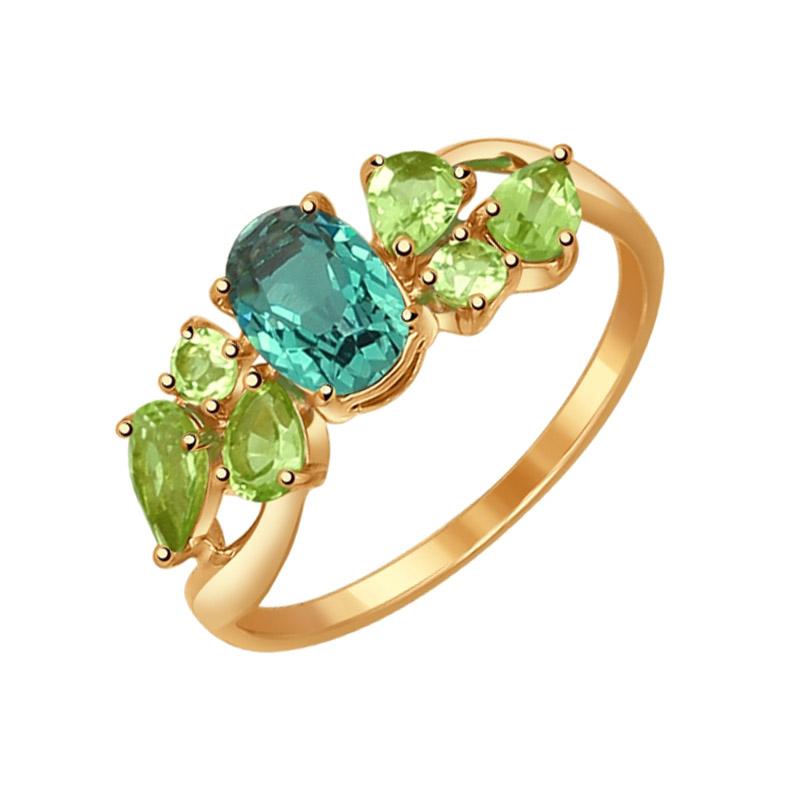 Золотое кольцо с кварцем и хризолитами ДИ714552