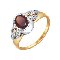 Золотое кольцо с гранатами и фианитами ДИ714573