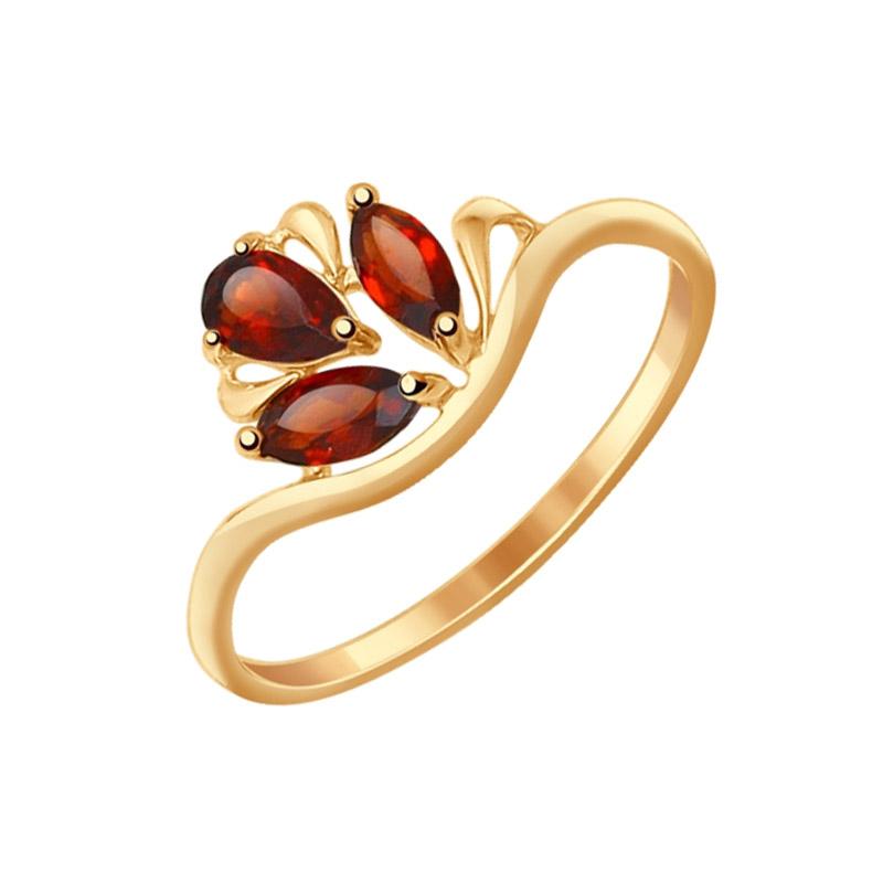 Золотое кольцо с гранатами ДИ714588