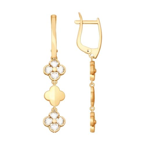 Золотые серьги подвесные с Swarovski ДИ81020331