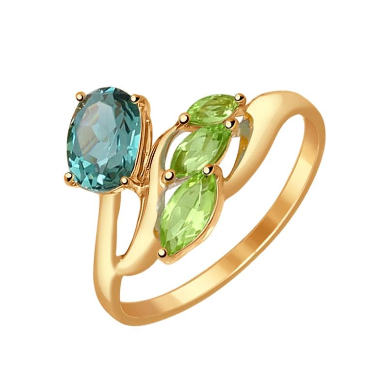 Золотое кольцо с кварцем и хризолитами ДИ714534