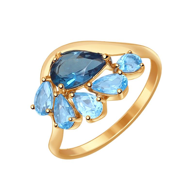 Золотое кольцо с топазами ДИ714555