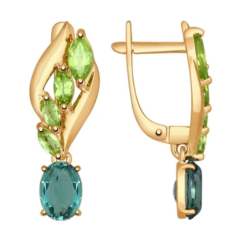 Золотые серьги подвесные с кварцем и хризолитами ДИ724687