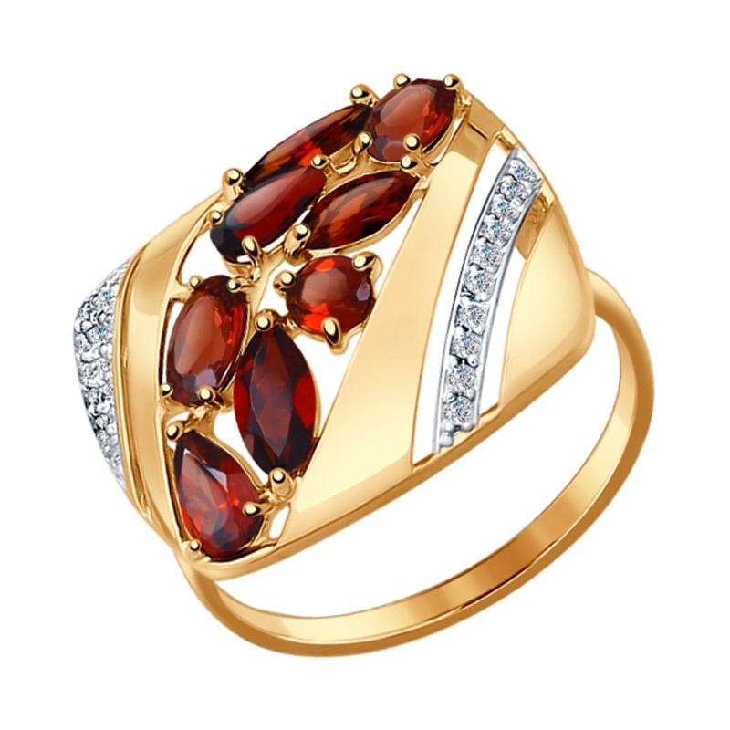 Золотое кольцо с гранатами и фианитами ДИ714428