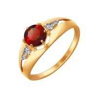 Золотое кольцо с гранатами и фианитами ДИ714440