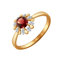 Золотое кольцо с гранатами и фианитами ДИ714451