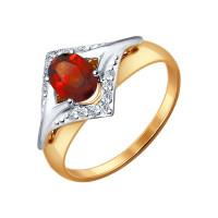 Золотое кольцо с гранатами и фианитами ДИ714465