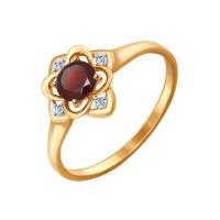 Золотое кольцо с гранатами и фианитами ДИ714468