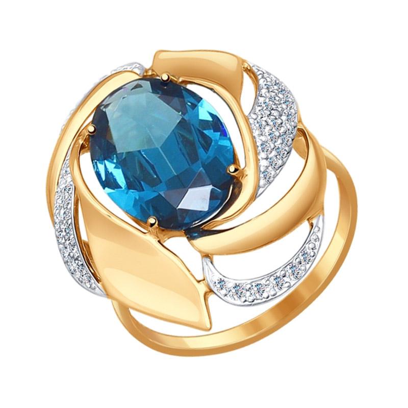 Золотое кольцо с ситалом и фианитами ДИ714510