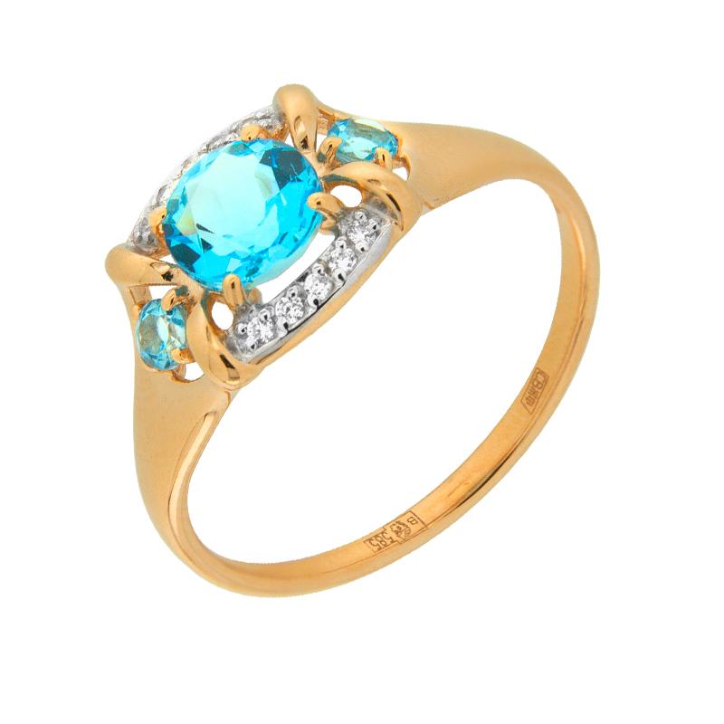 Золотое кольцо с топазами и фианитами ДИ714515