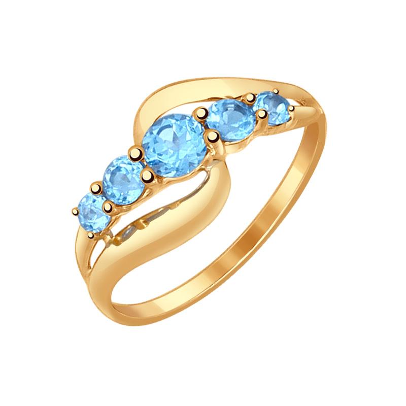 Золотое кольцо с топазами ДИ714535
