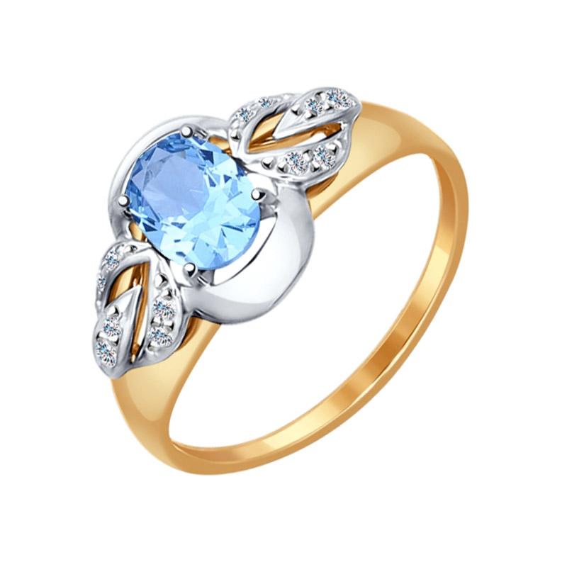 Золотое кольцо с топазами и фианитами ДИ714571