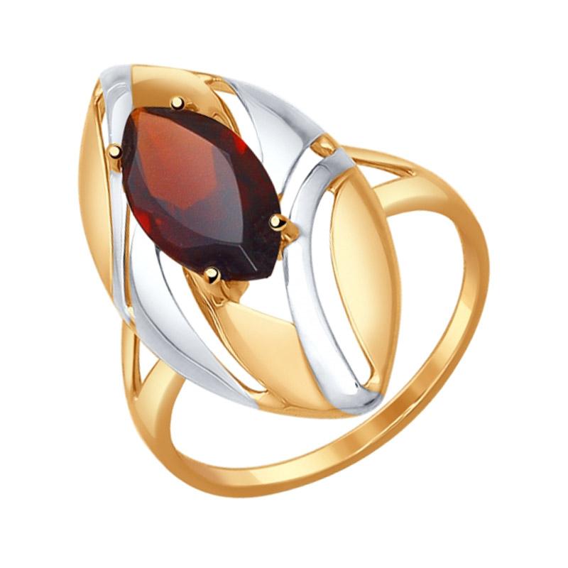 Золотое кольцо с гранатами ДИ714576
