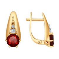 Золотые серьги с гранатами и фианитами ДИ724572 женские