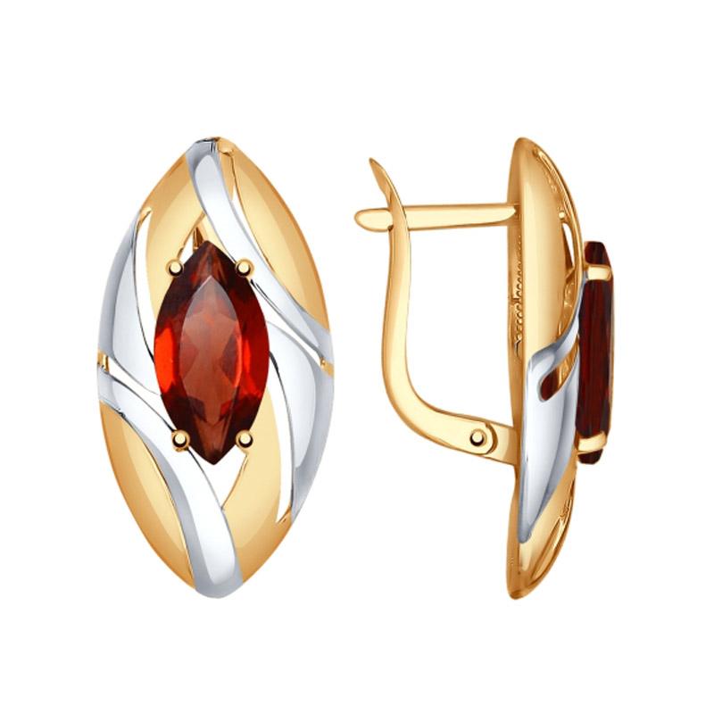 Золотые серьги с гранатами ДИ724730