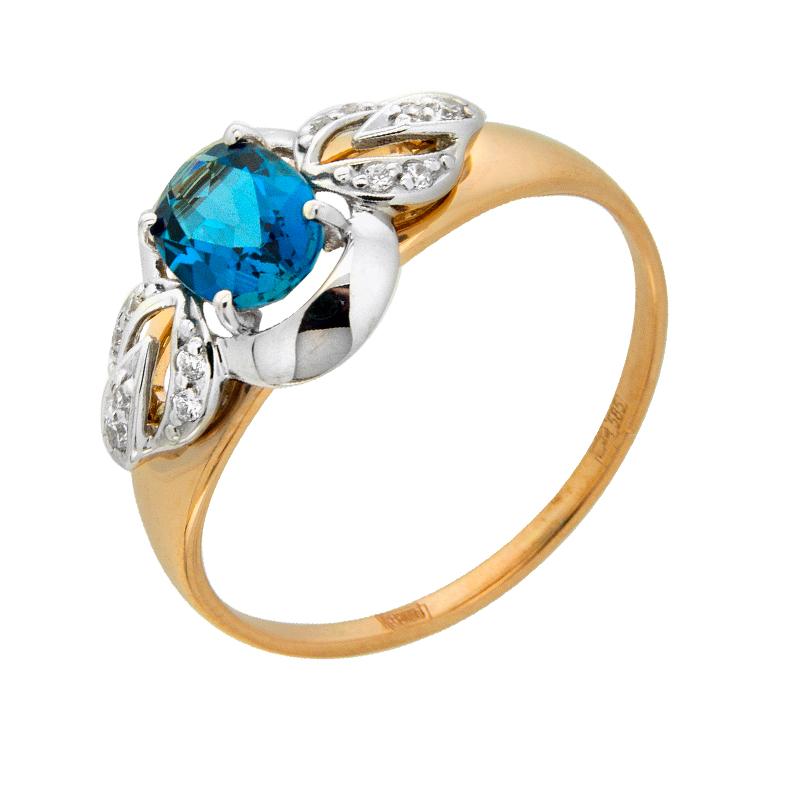 Золотое кольцо с топазами и фианитами ДИ714572