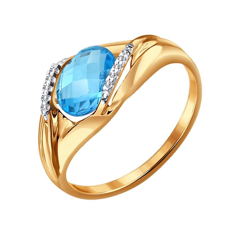 Золотое кольцо с топазом и фианитами ДИ714061