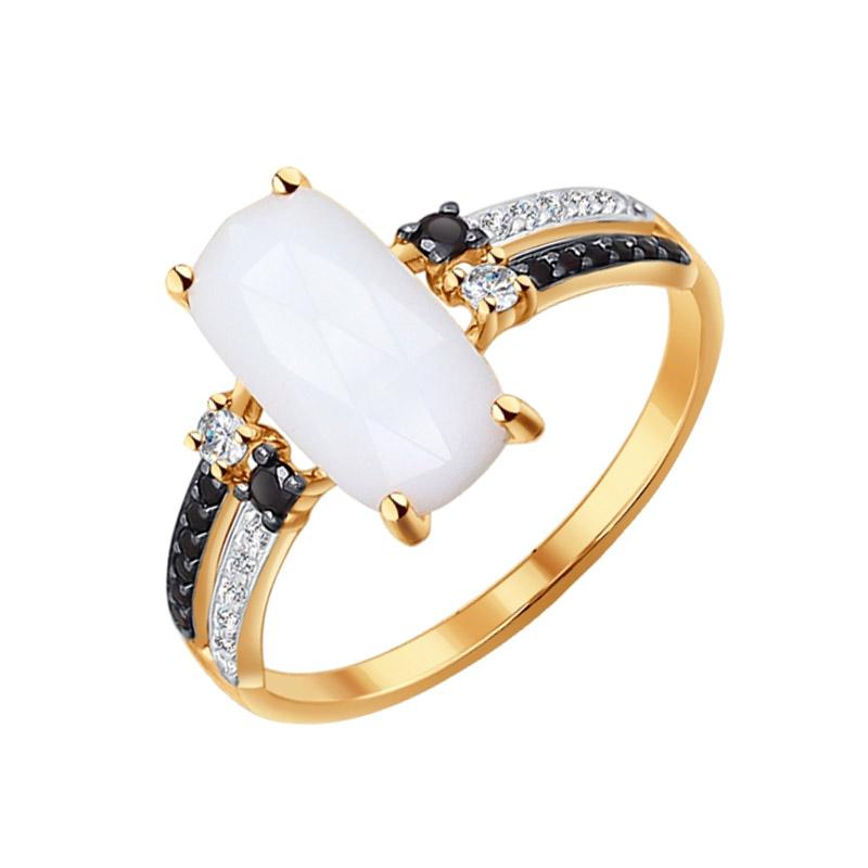 Золотое кольцо с агатами и фианитами ДИ714228