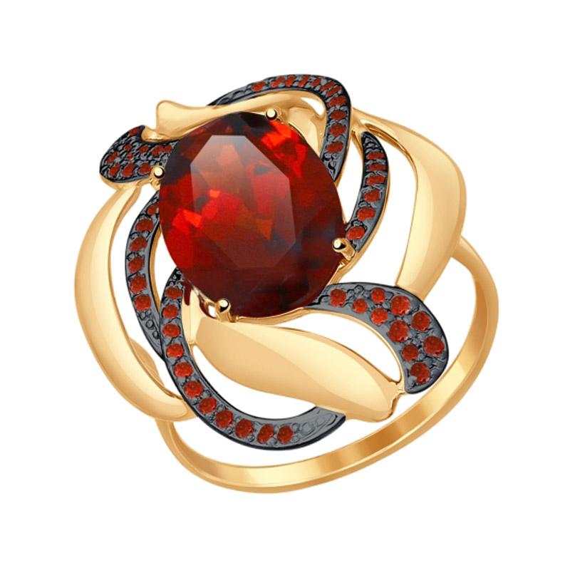 Золотое кольцо с ситалом и фианитами ДИ714514