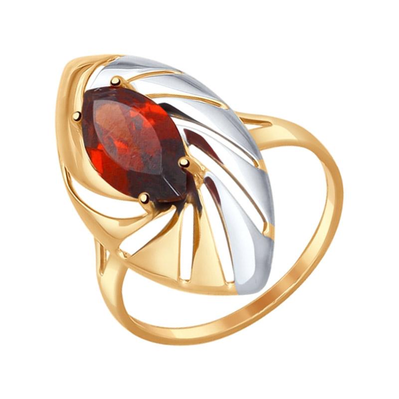 Золотое кольцо с гранатами ДИ714579