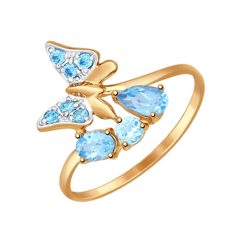 Золотое кольцо с топазами и фианитами ДИ714574