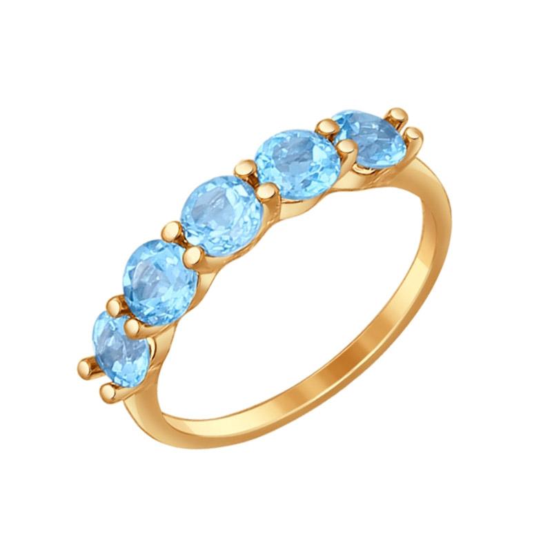 Золотое кольцо с топазами ДИ714560