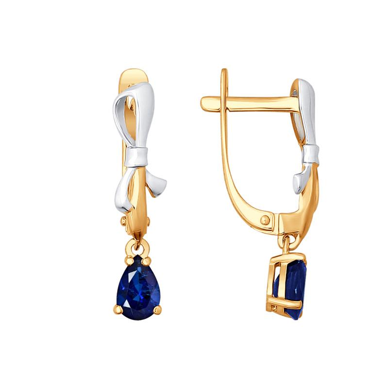 Золотые серьги подвесные с сапфирами ДИ2020823
