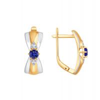 Золотые серьги с сапфирами и бриллиантами ДИ2020849