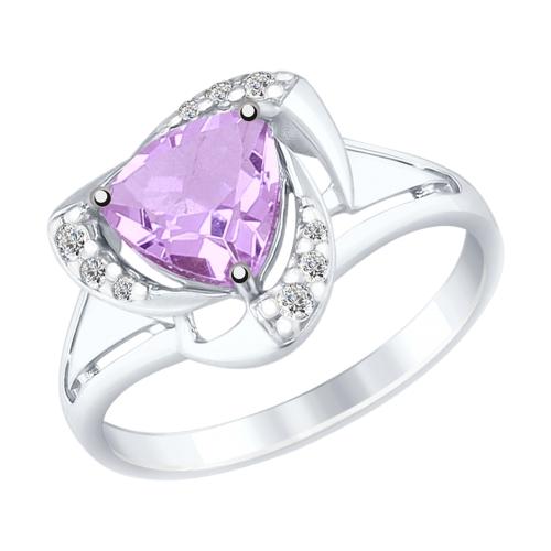 Серебряное кольцо с аметистами и фианитами ДИ92011491