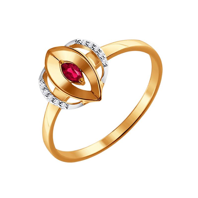 Золотое кольцо с рубиным и бриллиантами ДИ4010608