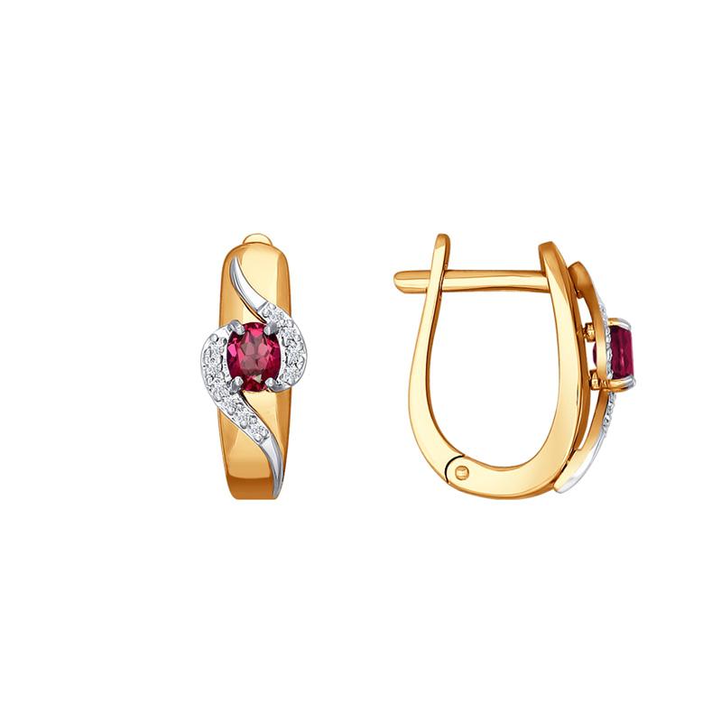 Золотые серьги с рубинами и бриллиантами ДИ4020361