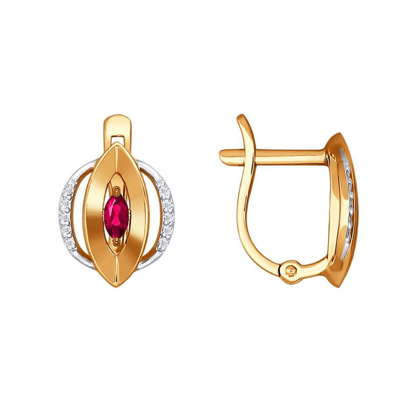 Золотые серьги с рубинами и бриллиантами ДИ4020369