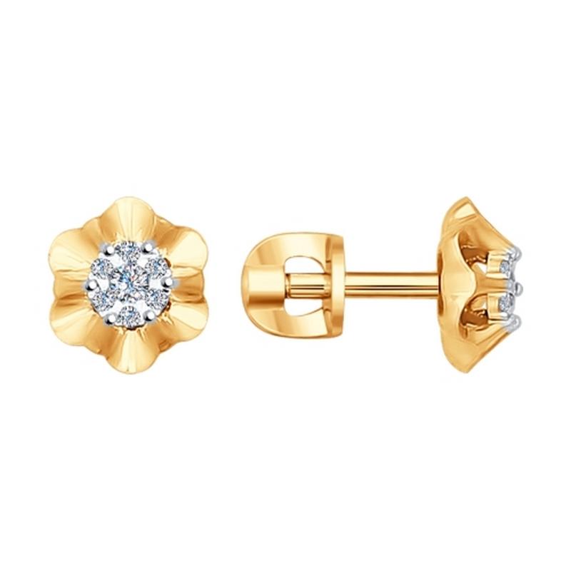 Золотые серьги гвоздики с бриллиантами ДИ1020992