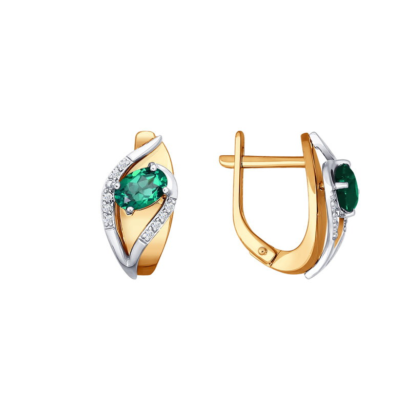 Золотые серьги с изумрудами и бриллиантами ДИ3020401