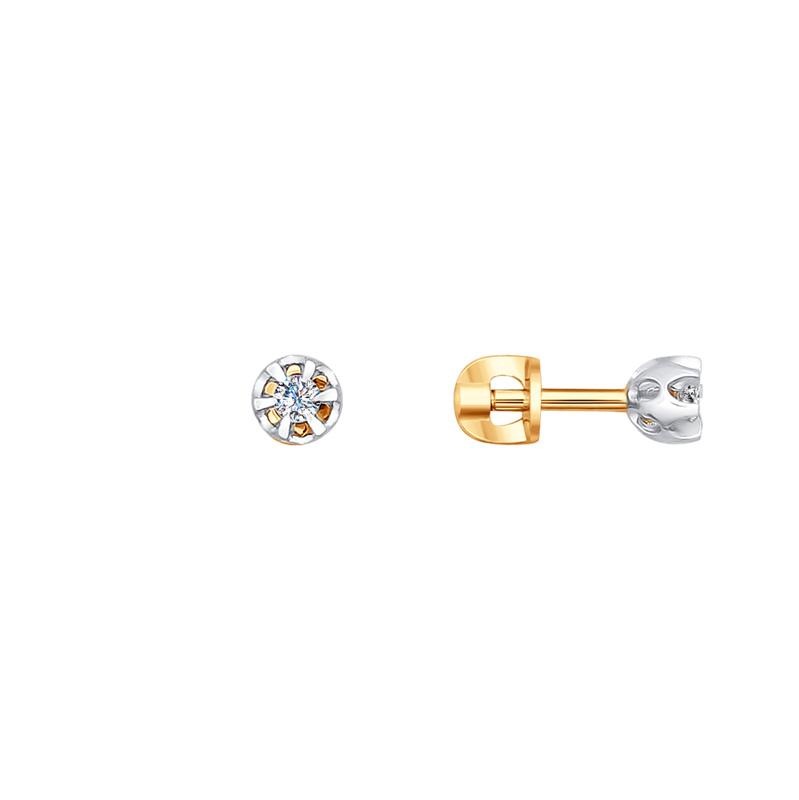 Золотые серьги гвоздики с бриллиантами ДИ1020909