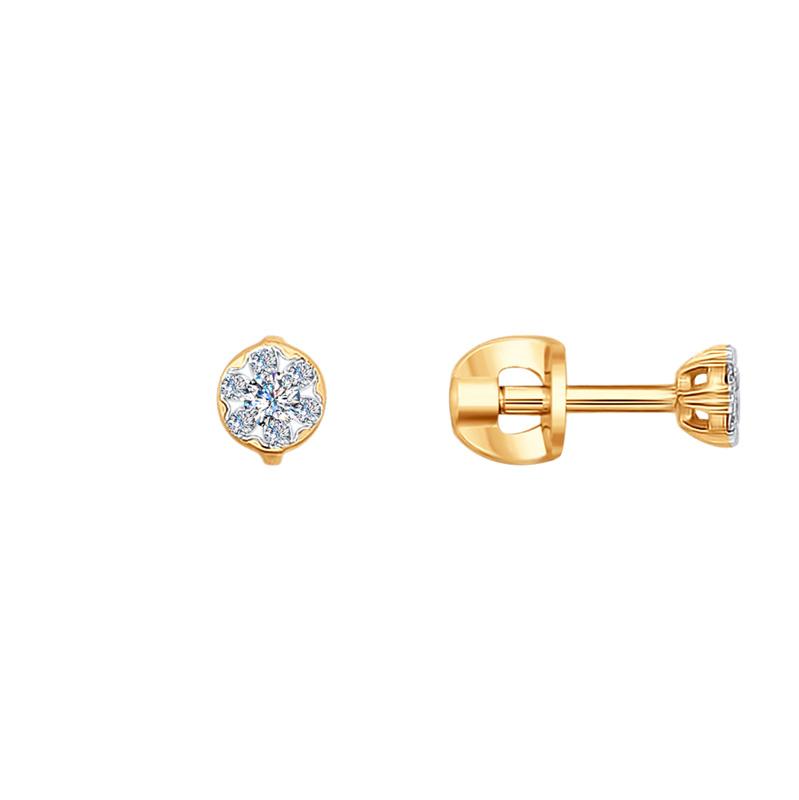 Золотые серьги гвоздики с бриллиантами ДИ1020982