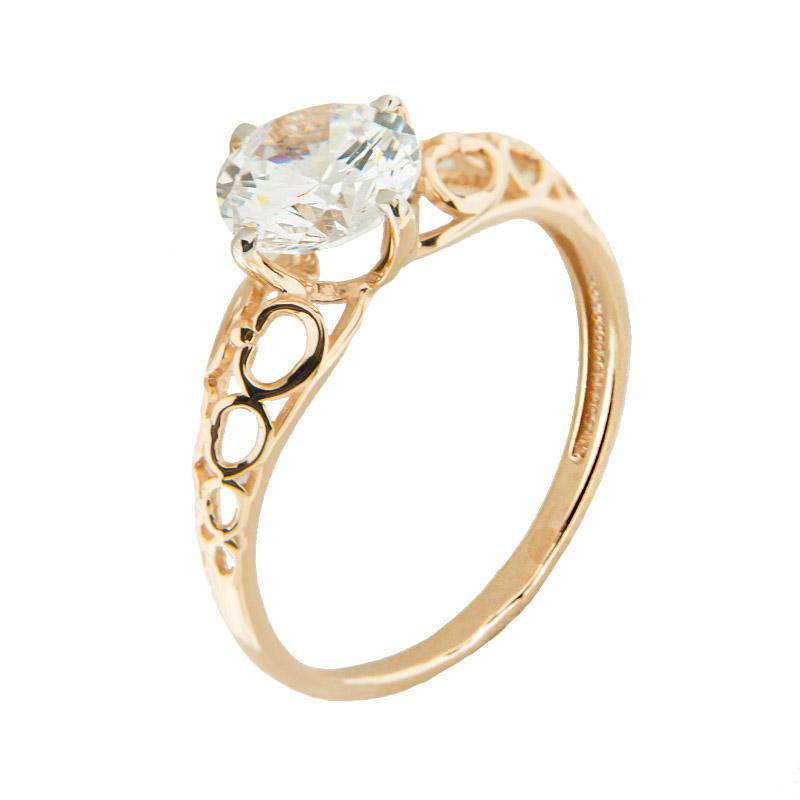 Золотое кольцо с сваровски 5Э10-02-00014