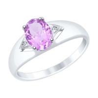 Серебряное кольцо с аметистами и фианитами ДИ92011506